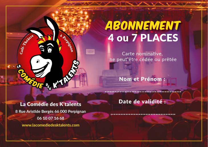 Abonnement La Comédie des K'talents Café-Théâtre à Perpignan